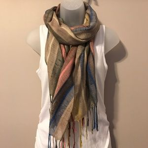 Striped Tan, Pink and Blue Scarf